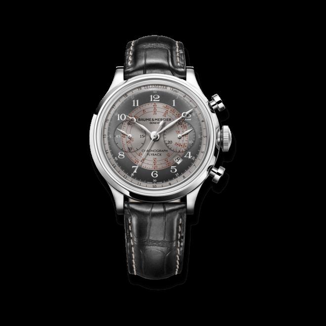 Herrenuhr Baume & Mercier Capeland Automatik Chronograph 42mm mit grauem Zifferblatt und Armband aus Kalbsleder mit Krokodilprägung
