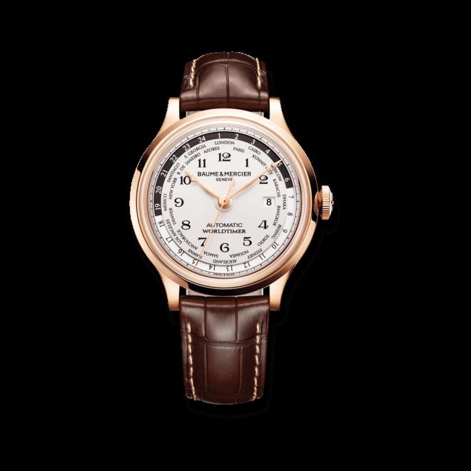 Herrenuhr Baume & Mercier Capeland Automatik Worldtimer 44mm mit weißem Zifferblatt und Alligatorenleder-Armband