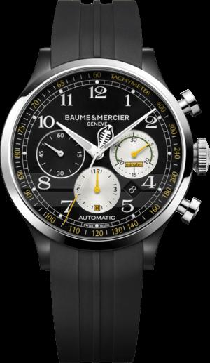 Herrenuhr Baume & Mercier Capeland Shelby® Cobra 1963 Chronograph mit schwarzem Zifferblatt und Kautschukarmband