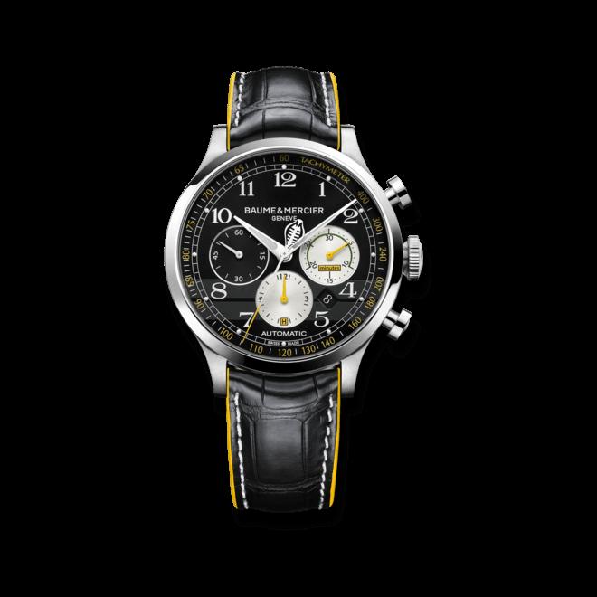 Herrenuhr Baume & Mercier Capeland Shelby® Cobra 1963 Chronograph mit schwarzem Zifferblatt und Alligatorenleder-Armband