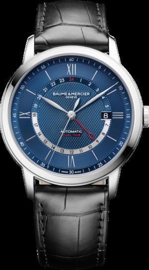 Herrenuhr Baume & Mercier Classima Automatik mit blauem Zifferblatt und Alligatorenleder-Armband