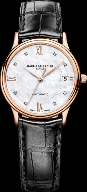 Damenuhr Baume & Mercier Classima Automatik 33mm mit perlmuttfarbenem Zifferblatt und Alligatorenleder-Armband