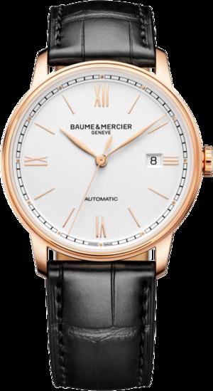 Herrenuhr Baume & Mercier Classima Automatik 39mm mit silberfarbenem Zifferblatt und Alligatorenleder-Armband