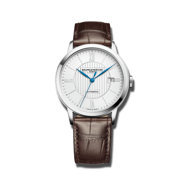 Herrenuhr Baume & Mercier Classima Automatik 40mm mit silberfarbenem Zifferblatt und Alligatorenleder-Armband