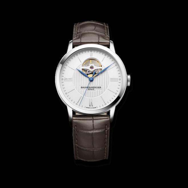 Herrenuhr Baume & Mercier Classima Automatik 40mm mit weißem Zifferblatt und Alligatorenleder-Armband