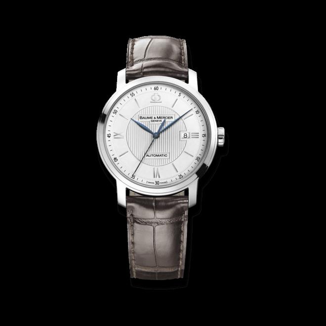 Herrenuhr Baume & Mercier Classima Automatik 42mm mit silberfarbenem Zifferblatt und Alligatorenleder-Armband