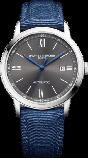 Herrenuhr Baume & Mercier Classima Automatik 42mm mit grauem Zifferblatt und Segeltucharmband