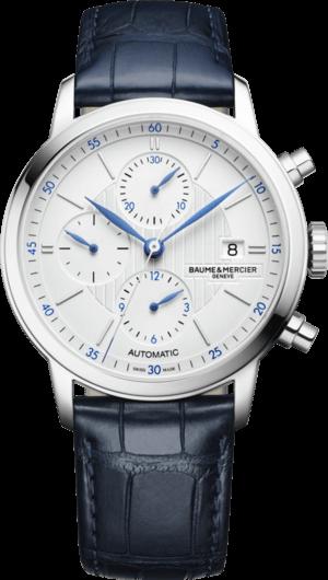 Herrenuhr Baume & Mercier Classima Automatik Chronograph 42mm mit weißem Zifferblatt und Alligatorenleder-Armband