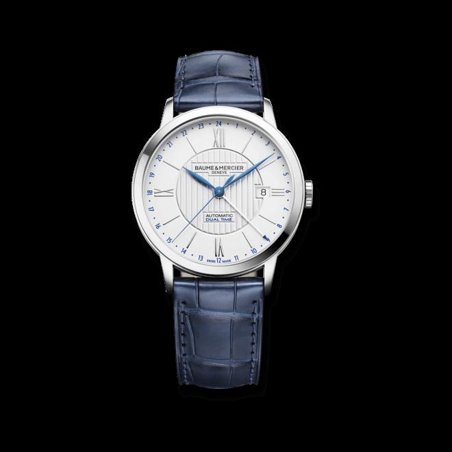 Herrenuhr Baume & Mercier Classima Automatik Dual Time mit weißem Zifferblatt und Alligatorenleder-Armband