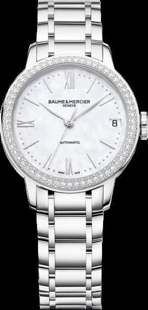 Damenuhr Baume & Mercier Classima Lady mit Diamanten, perlmuttfarbenem Zifferblatt und Edelstahlarmband