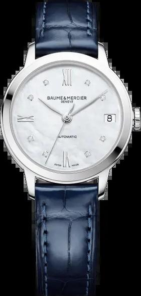 Damenuhr Baume & Mercier Classima Lady Automatik 31mm mit Diamanten, perlmuttfarbenem Zifferblatt und Alligatorenleder-Armband