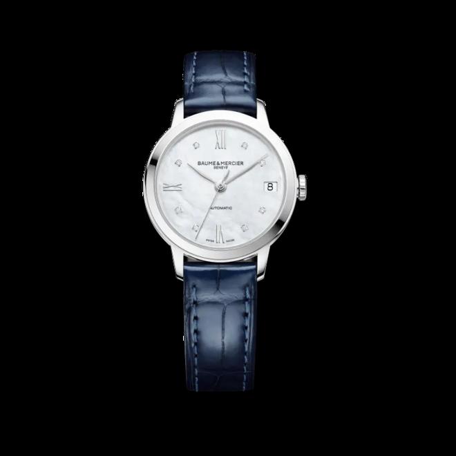 Damenuhr Baume & Mercier Classima Lady Automatik 31mm mit Diamanten, perlmuttfarbenem Zifferblatt und Alligatorenleder-Armband bei Brogle