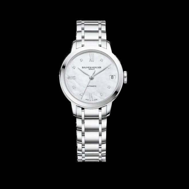 Damenuhr Baume & Mercier Classima Lady Automatik 31mm mit Diamanten, perlmuttfarbenem Zifferblatt und Edelstahlarmband bei Brogle