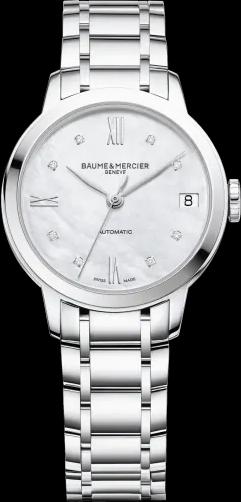 Damenuhr Baume & Mercier Classima Lady Automatik 31mm mit Diamanten, perlmuttfarbenem Zifferblatt und Edelstahlarmband
