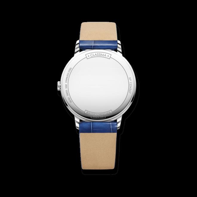 Damenuhr Baume & Mercier Classima Lady Mondphase mit Diamanten, perlmuttfarbenem Zifferblatt und Alligatorenleder-Armband