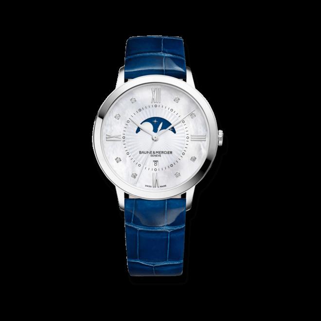 Damenuhr Baume & Mercier Classima Lady Mondphase mit Diamanten, perlmuttfarbenem Zifferblatt und Alligatorenleder-Armband bei Brogle