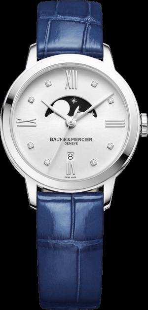 Damenuhr Baume & Mercier Classima Lady Mondphase 31mm mit Diamanten, weißem Zifferblatt und Alligatorenleder-Armband