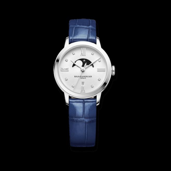 Damenuhr Baume & Mercier Classima Lady Mondphase 31mm mit Diamanten, weißem Zifferblatt und Alligatorenleder-Armband bei Brogle