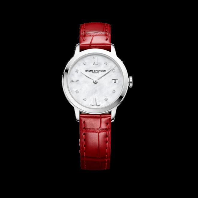 Damenuhr Baume & Mercier Classima Lady Quarz 31mm mit Diamanten, perlmuttfarbenem Zifferblatt und Alligatorenleder-Armband bei Brogle