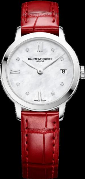 Damenuhr Baume & Mercier Classima Lady Quarz 31mm mit Diamanten, perlmuttfarbenem Zifferblatt und Alligatorenleder-Armband