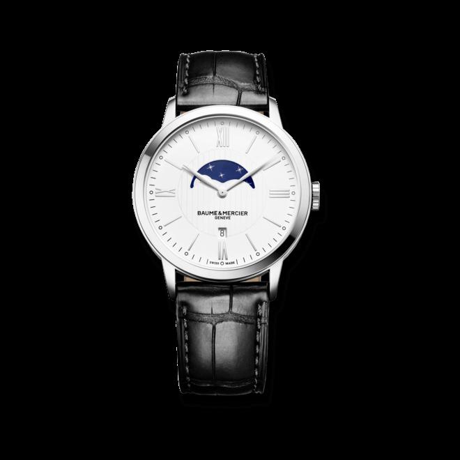 Herrenuhr Baume & Mercier Classima Mondphase 40mm mit silberfarbenem Zifferblatt und Alligatorenleder-Armband