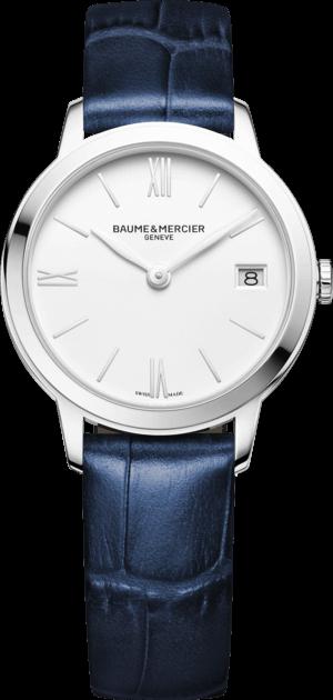 Damenuhr Baume & Mercier Classima Quarz 31mm mit weißem Zifferblatt und Alligatorenleder-Armband