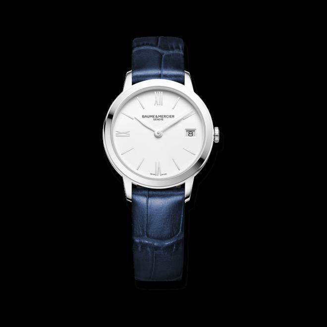 Damenuhr Baume & Mercier Classima Quarz 31mm mit weißem Zifferblatt und Alligatorenleder-Armband bei Brogle