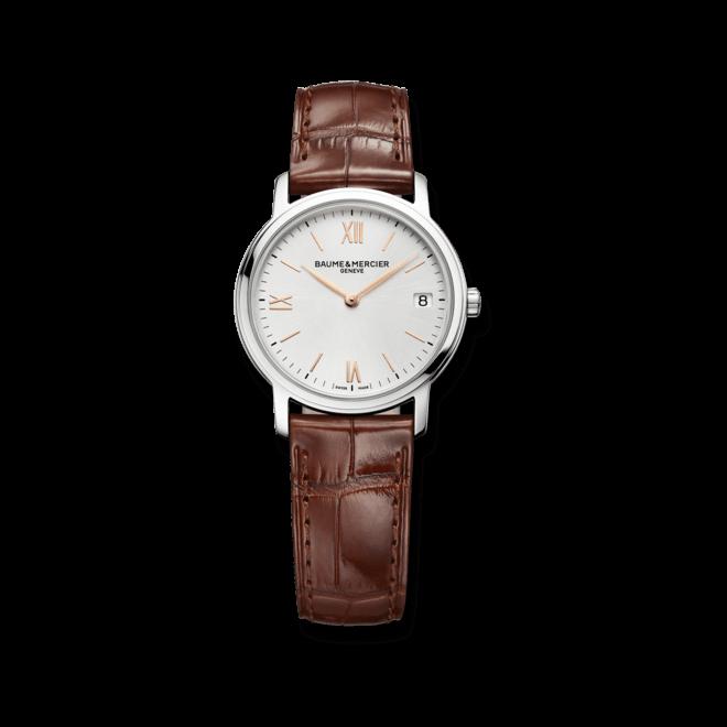Damenuhr Baume & Mercier Classima Quarz 33mm mit silberfarbenem Zifferblatt und Alligatorenleder-Armband