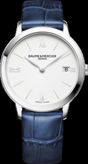 Armbanduhr Baume & Mercier Classima Quarz 36,5mm mit weißem Zifferblatt und Alligatorenleder-Armband