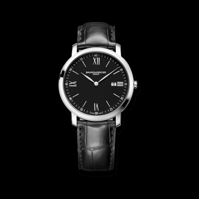 Herrenuhr Baume & Mercier Classima Quarz 39mm mit schwarzem Zifferblatt und Alligatorenleder-Armband