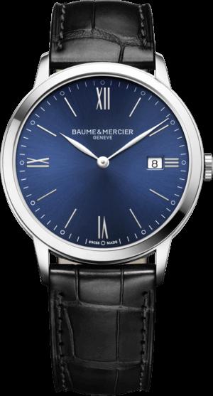 Herrenuhr Baume & Mercier Classima Quarz 40mm mit blauem Zifferblatt und Armband aus Kalbsleder mit Krokodilprägung