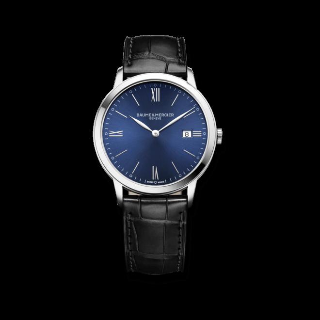 Herrenuhr Baume & Mercier Classima Quarz 40mm mit blauem Zifferblatt und Armband aus Kalbsleder mit Krokodilprägung bei Brogle