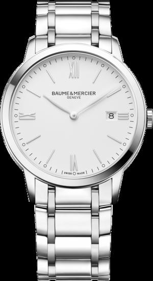 Herrenuhr Baume & Mercier Classima Quarz 40mm mit weißem Zifferblatt und Edelstahlarmband