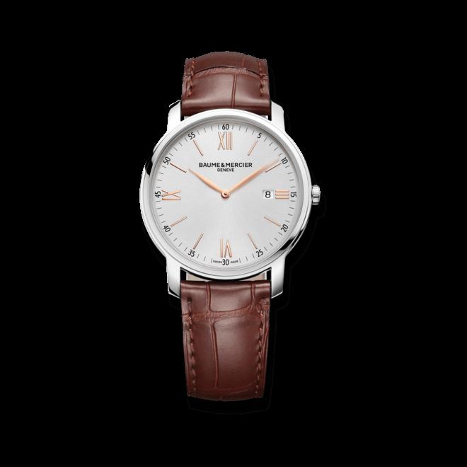 Herrenuhr Baume & Mercier Classima Quarz 42mm mit silberfarbenem Zifferblatt und Alligatorenleder-Armband