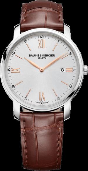 Herrenuhr Baume & Mercier Classima Quarz 42mm mit silberfarbenem Zifferblatt und Armband aus Kalbsleder mit Krokodilprägung
