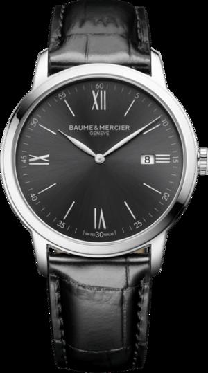 Herrenuhr Baume & Mercier Classima Quarz 42mm mit anthrazitfarbenem Zifferblatt und Armband aus Kalbsleder mit Krokodilprägung
