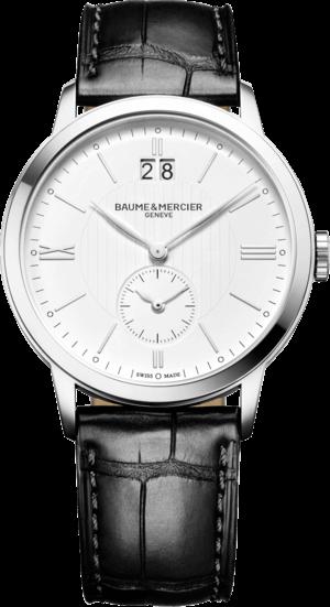 Herrenuhr Baume & Mercier Classima Zweite Zeitzone mit silberfarbenem Zifferblatt und Alligatorenleder-Armband