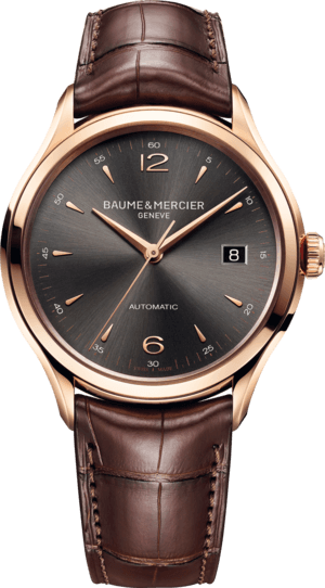 Herrenuhr Baume & Mercier Clifton Automatik 39mm mit anthrazitfarbenem Zifferblatt und Alligatorenleder-Armband