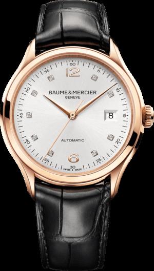 Herrenuhr Baume & Mercier Clifton Automatik 39mm mit Diamanten, silberfarbenem Zifferblatt und Alligatorenleder-Armband