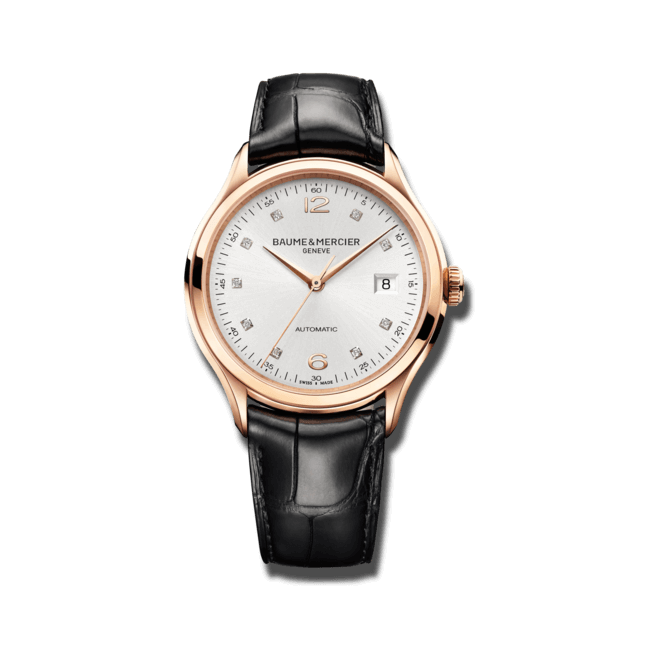 Herrenuhr Baume & Mercier Clifton Automatik 39mm mit Diamanten, silberfarbenem Zifferblatt und Alligatorenleder-Armband