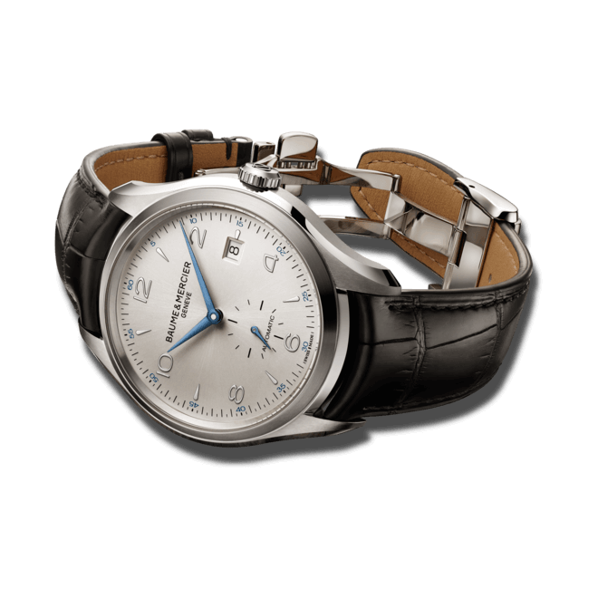 Herrenuhr Baume & Mercier Clifton Automatik 41mm mit silberfarbenem Zifferblatt und Alligatorenleder-Armband