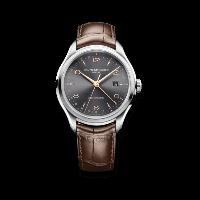 Herrenuhr Baume & Mercier Clifton Automatik 43mm mit grauem Zifferblatt und Alligatorenleder-Armband