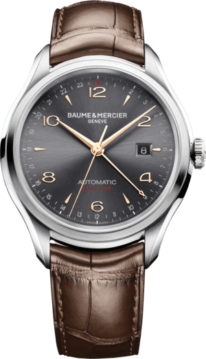Herrenuhr Baume & Mercier Clifton Automatik Dual Time 43mm mit grauem Zifferblatt und Alligatorenleder-Armband