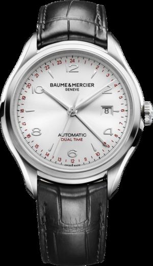Herrenuhr Baume & Mercier Clifton Automatik Dual Time 43mm mit silberfarbenem Zifferblatt und Alligatorenleder-Armband