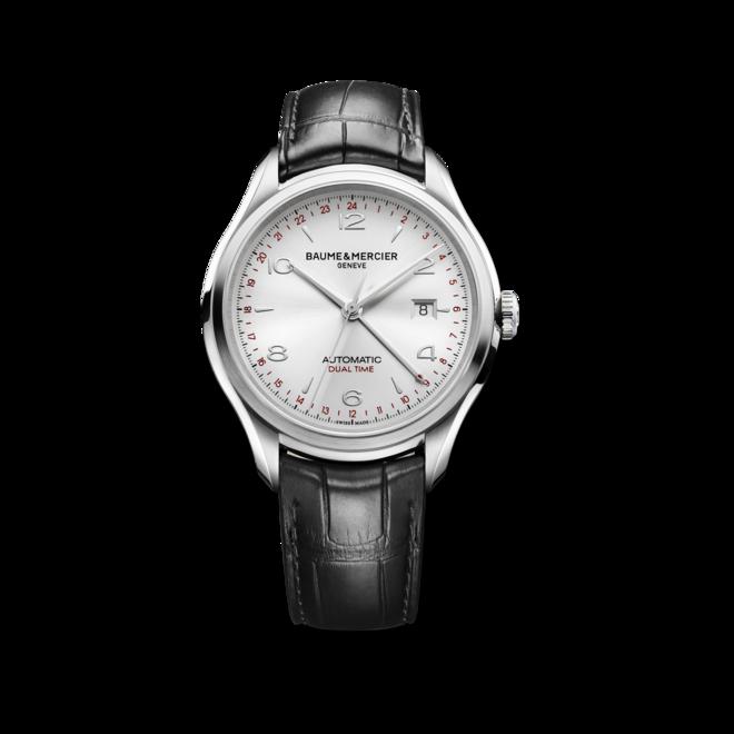 Herrenuhr Baume & Mercier Clifton Automatik Dual Time 43mm mit silberfarbenem Zifferblatt und Alligatorenleder-Armband bei Brogle