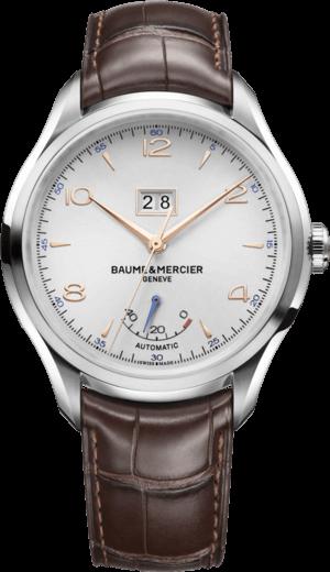 Herrenuhr Baume & Mercier Clifton Automatik Gangreserve 43mm mit silberfarbenem Zifferblatt und Alligatorenleder-Armband