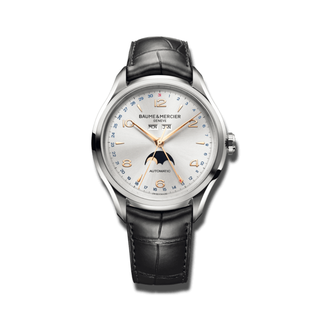 Herrenuhr Baume & Mercier Clifton Automatik Mondphase 43mm mit silberfarbenem Zifferblatt und Alligatorenleder-Armband