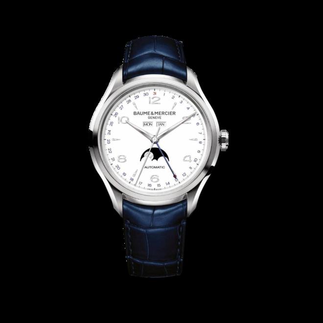 Herrenuhr Baume & Mercier Clifton Automatik Mondphase 43mm mit weißem Zifferblatt und Alligatorenleder-Armband bei Brogle