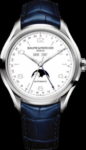 Herrenuhr Baume & Mercier Clifton Automatik Mondphase 43mm mit weißem Zifferblatt und Alligatorenleder-Armband