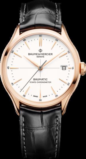 Herrenuhr Baume & Mercier Baumatic mit weißem Zifferblatt und Alligatorenleder-Armband